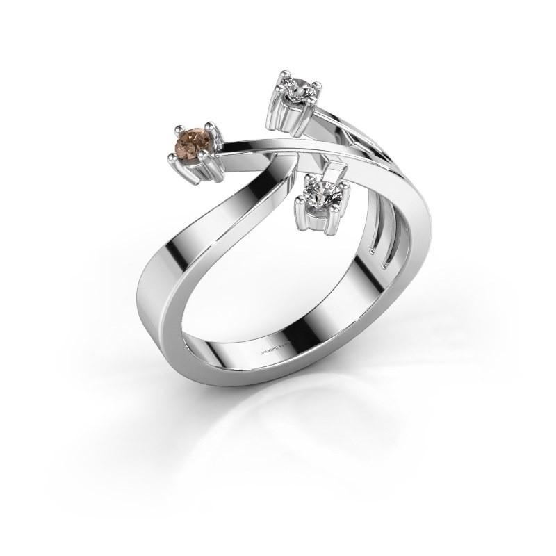 Ring Lillian 585 witgoud bruine diamant 0.18 crt