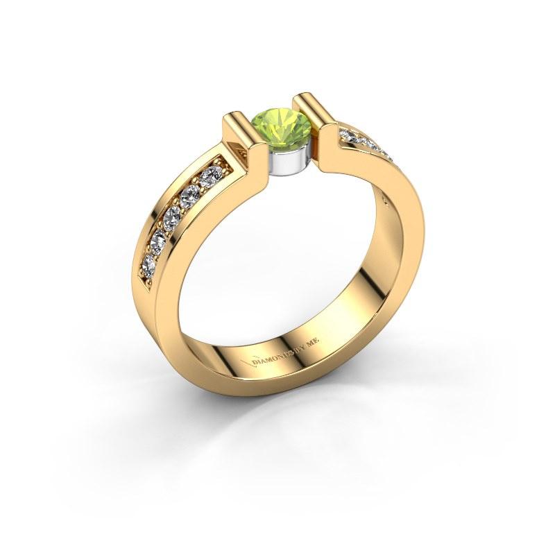 Verlovingsring Isabel 2 585 goud peridoot 4 mm