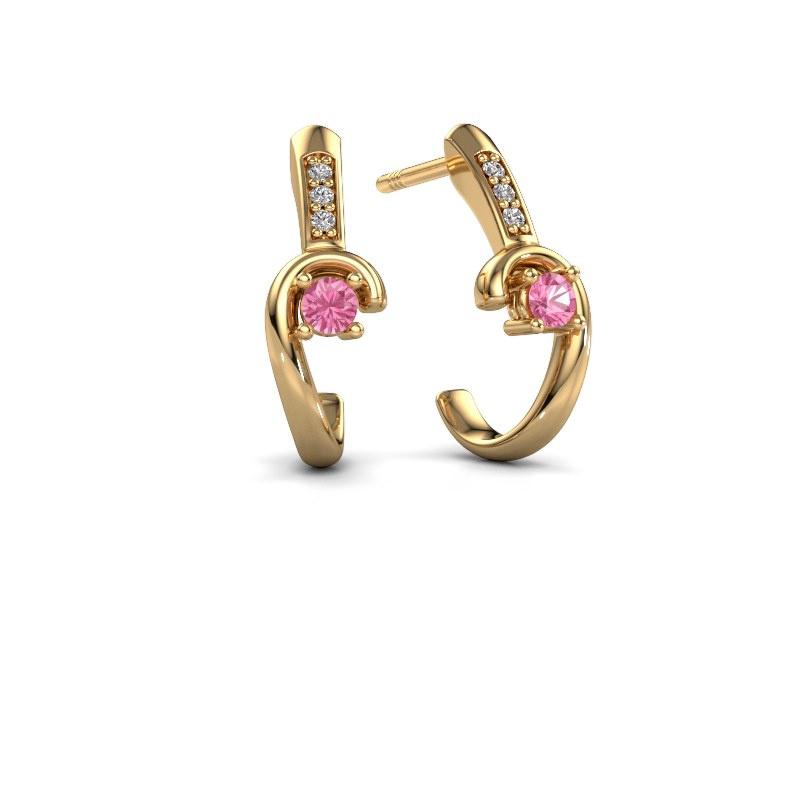 Oorbellen Ceylin 585 goud roze saffier 2.5 mm