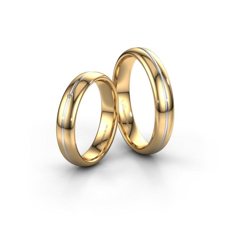 Trouwringen set WH2142LM34A ±4x1.7 mm 14 karaat goud diamant 0.015 crt