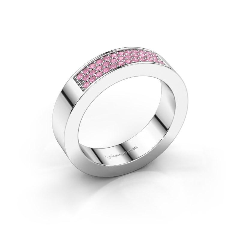 Ring Lindsey 1 585 witgoud roze saffier 1.1 mm