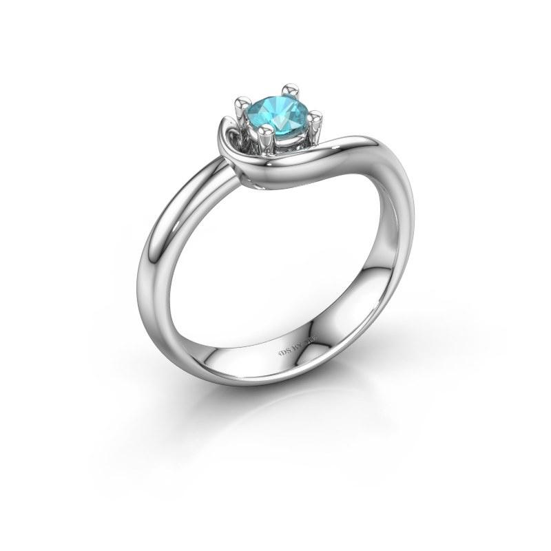 Ring Lot 925 zilver blauw topaas 4 mm