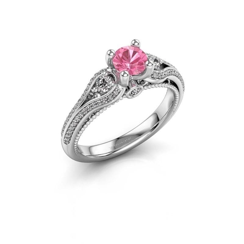 Verlovingsring Nikita 950 platina roze saffier 5 mm