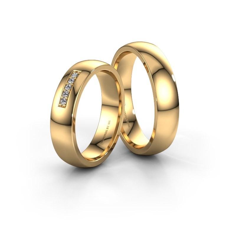 Trouwringen set WH0111LM25BP ±5x2 mm 14 karaat rosé goud diamant 0.02 crt