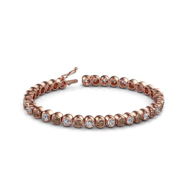 Tennisarmband Bianca 4 mm 375 rosé goud bruine diamant 8.75 crt