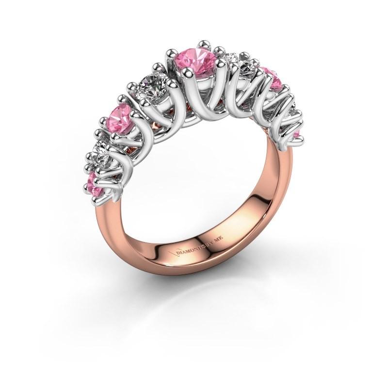 Verlovingsring Fatima 585 rosé goud roze saffier 3.7 mm