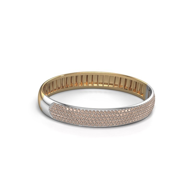 Slavenarmband Emely 10mm 585 goud bruine diamant 4.355 crt