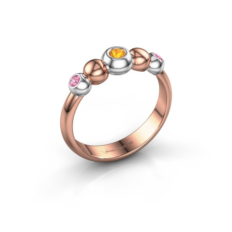 Bague superposable Lily 585 or rose citrine 2.5 mm