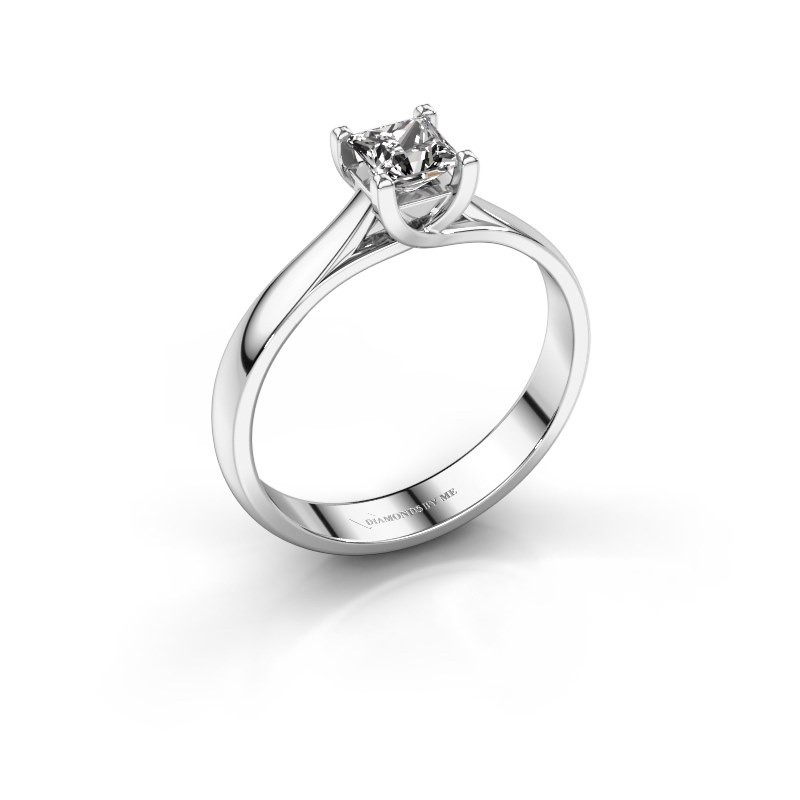 Engagement ring Mia Square 585 white gold zirconia 4 mm