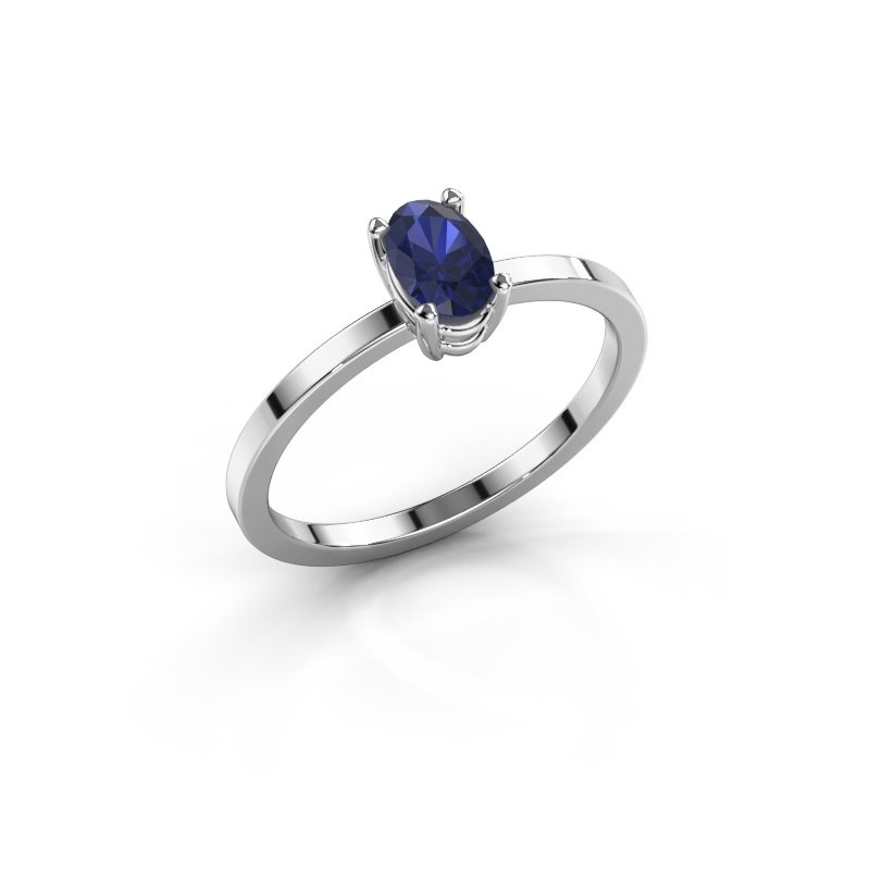 Ring Lynelle 1 585 witgoud saffier 6x4 mm