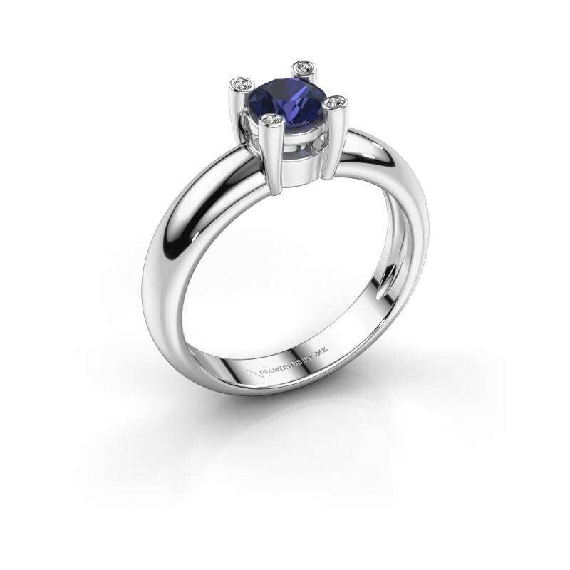 Ring Fleur 585 witgoud saffier 4.7 mm