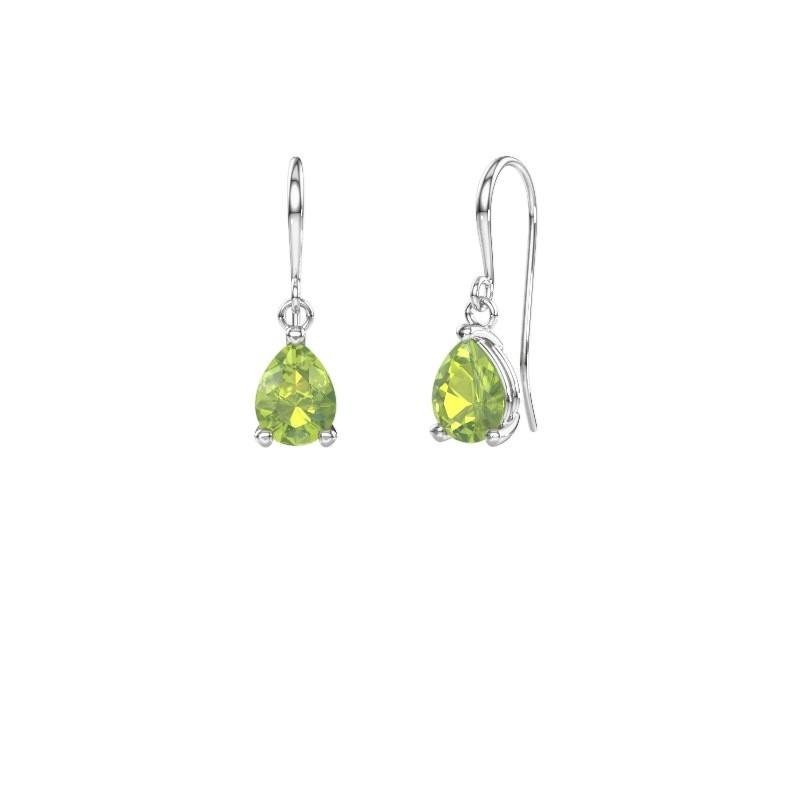 Drop earrings Laurie 1 375 white gold peridot 8x6 mm