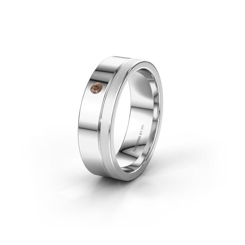 Trouwring WH0301L16APM 585 witgoud bruine diamant ±6x1.7 mm