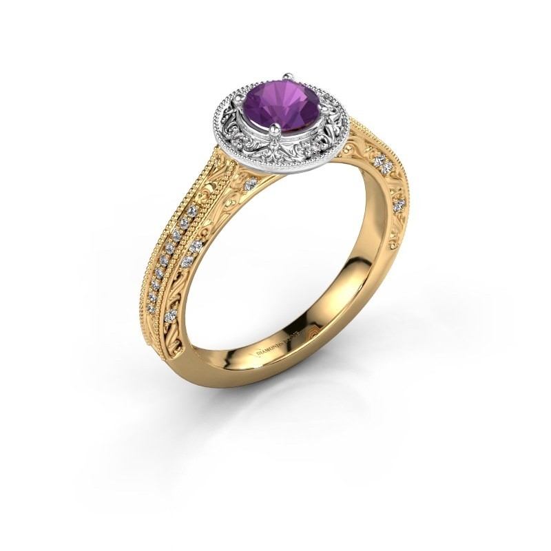 Verlovings ring Alice RND 585 goud amethist 5 mm