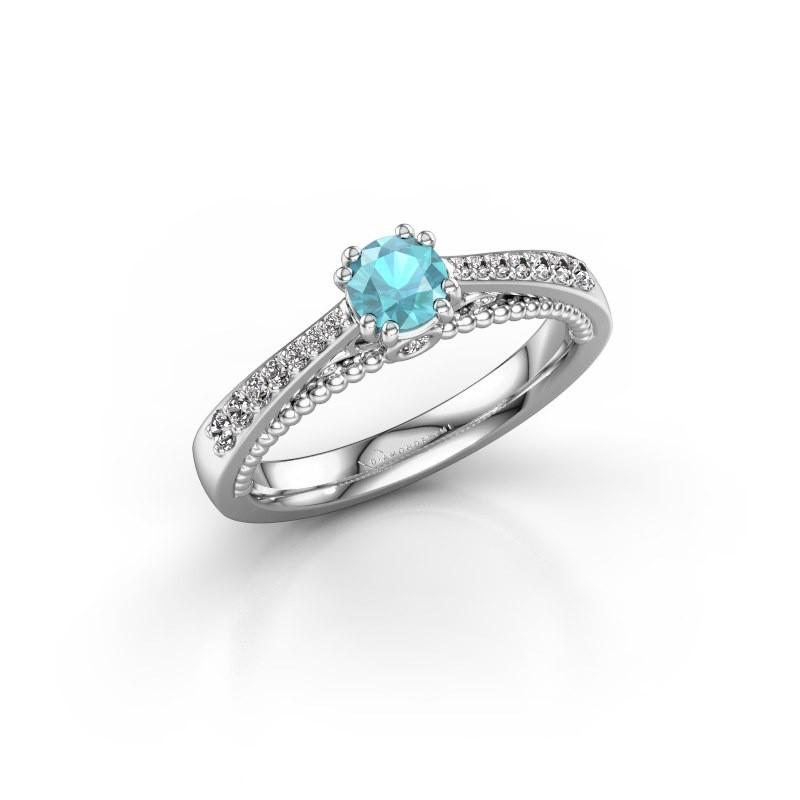 Verlovingsring Rozella 950 platina blauw topaas 4.2 mm