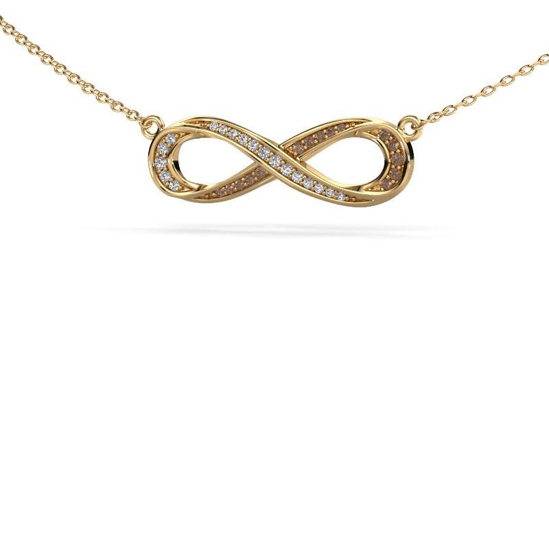Collier Infinity 2 585 goud bruine diamant 0.123 crt