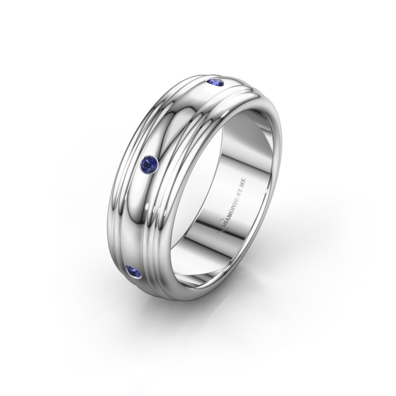 Wedding ring WH2236L 585 white gold sapphire ±6x2.2 mm