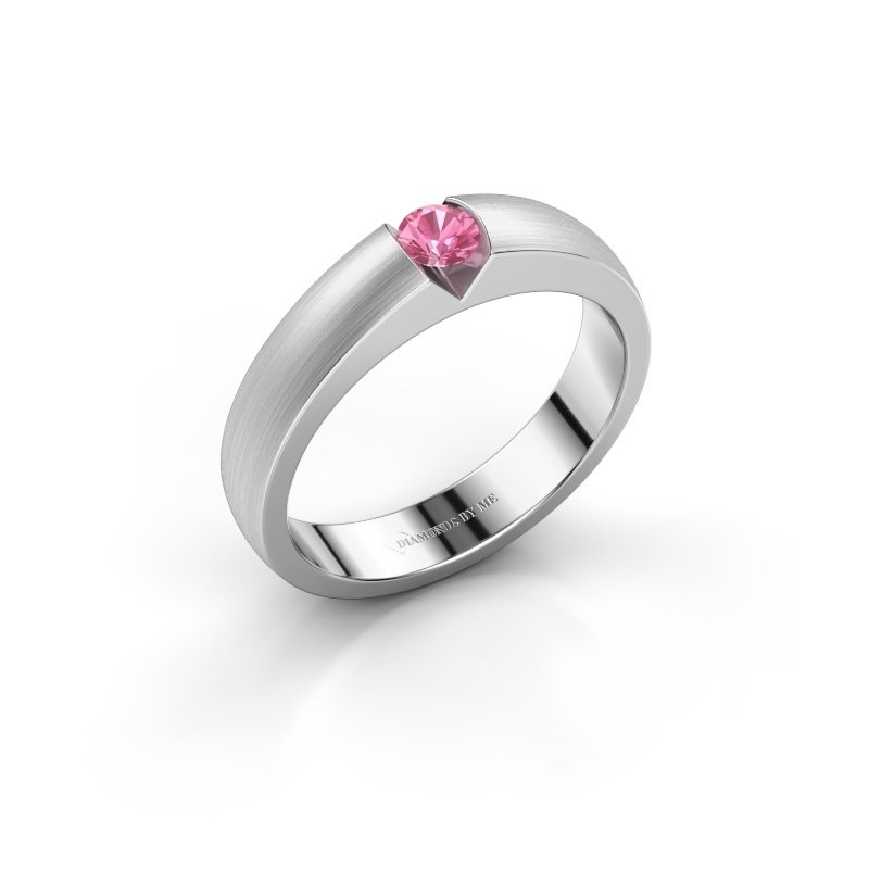 Verlovingsring Theresia 585 witgoud roze saffier 3.4 mm