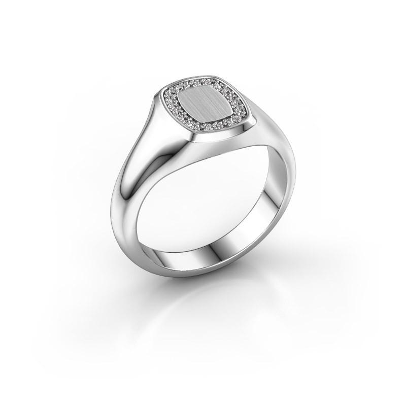 Men's ring Floris Cushion 1 925 silver diamond 0.15 crt