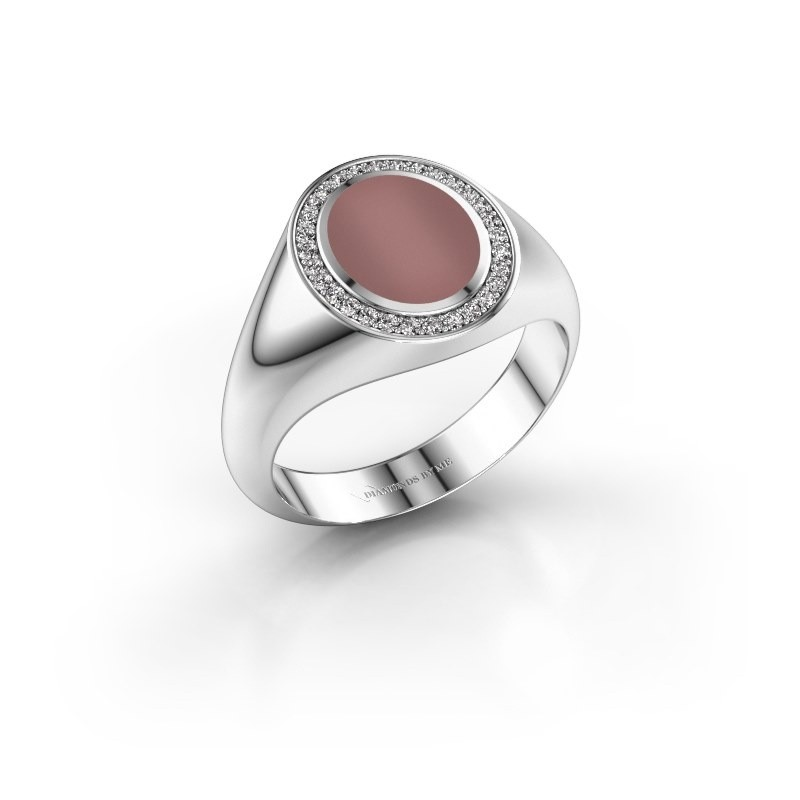 Pinkring Adam 1 375 witgoud carneool 10x8 mm
