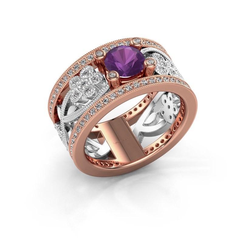 Ring Severine 585 rosé goud amethist 6 mm