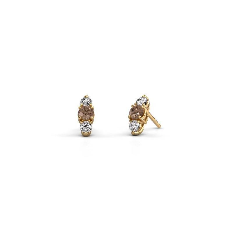 Oorbellen Amie 375 goud bruine diamant 0.90 crt