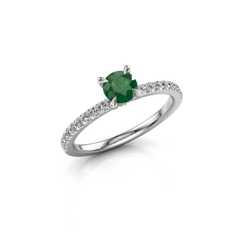 Verlovingsring Crystal rnd 2 950 platina smaragd 5 mm