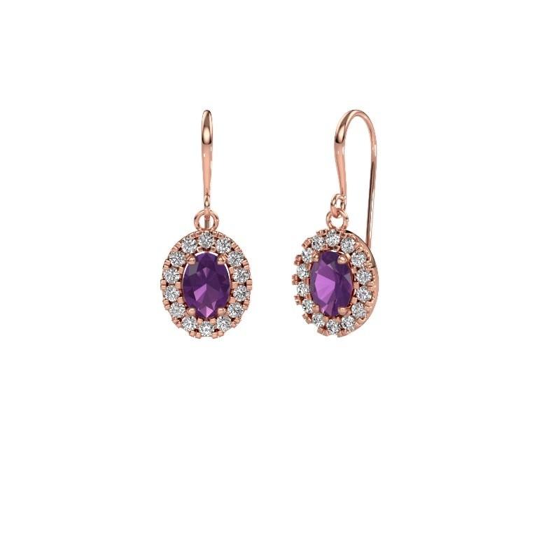 Drop earrings Jorinda 1 375 rose gold amethyst 7x5 mm
