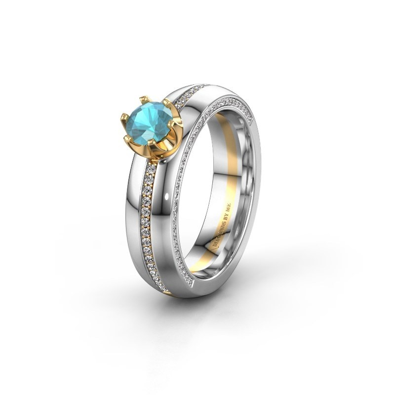 Weddings ring WH0416L25E 585 gold blue topaz ±0.20x0.1in