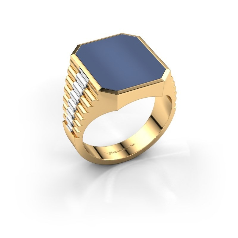 Rolex stijl ring Brent 4 585 goud blauw lagensteen 16x13 mm