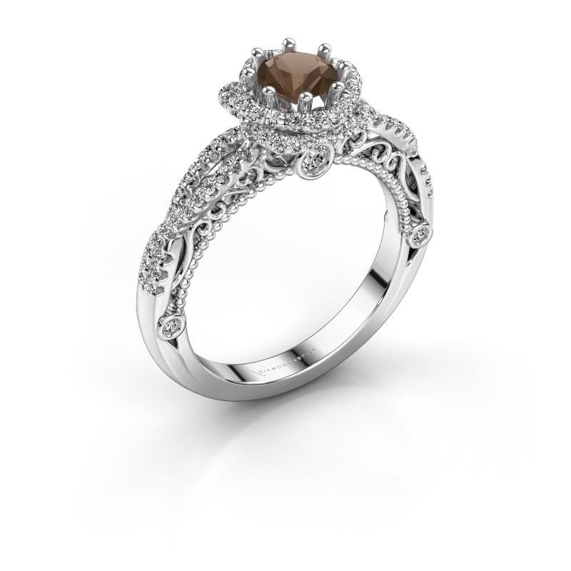 Engagement ring Lysanne 585 white gold smokey quartz 5 mm