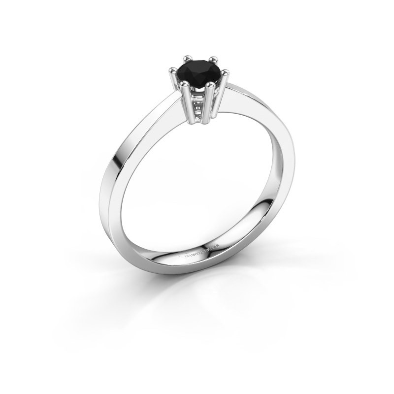 Noortje Beautiful Solitaire Engagement Ring White Gold Black Diamond 0 30 Crt Hand Made