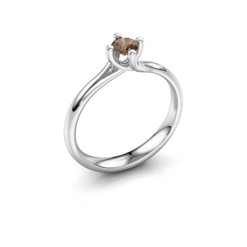 Bague de fiançailles Dewi Round 585 or blanc diamant brun 0.25 crt