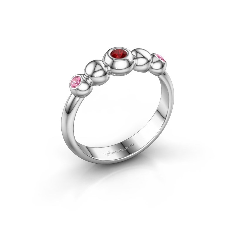 Bague superposable Lily 585 or blanc rubis 2.5 mm
