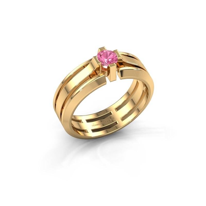 Heren ring Sem 585 goud roze saffier 4.7 mm