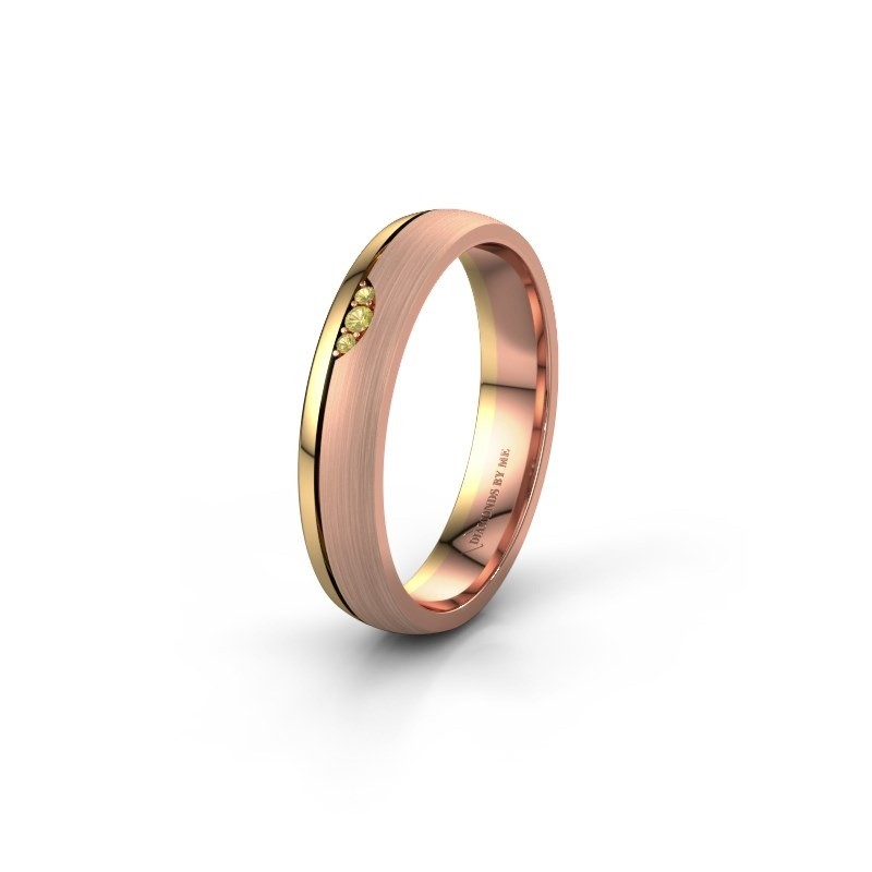 Wedding ring WH0334L24X 585 rose gold yellow sapphire ±4x1.5 mm