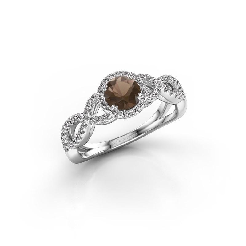 Engagement ring Dionne rnd 950 platinum smokey quartz 5 mm