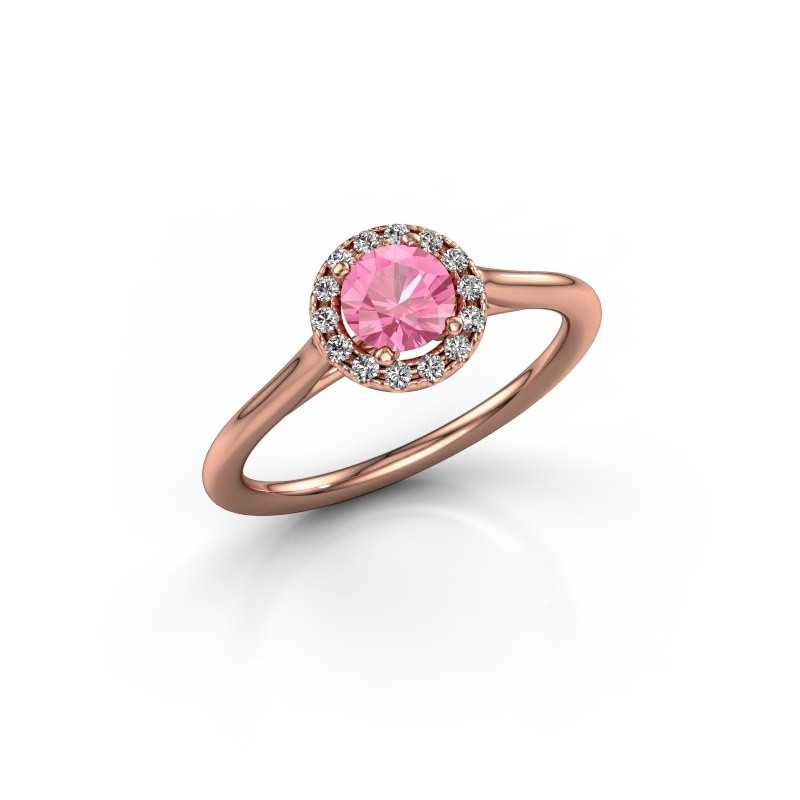 Verlovingsring Seline rnd 1 375 rosé goud roze saffier 5 mm