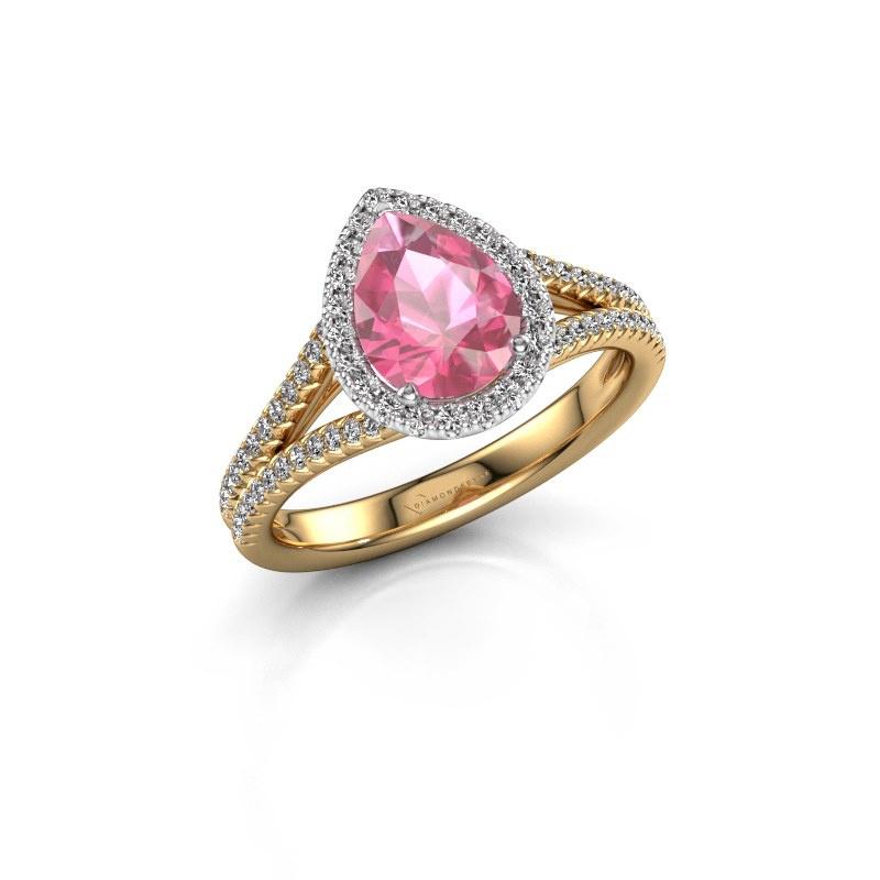 Verlovingsring Verla pear 2 585 goud roze saffier 8x6 mm
