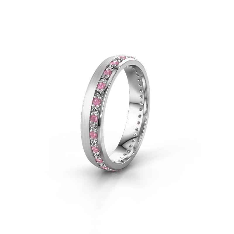 Trouwring WH0303L24AM 950 platina roze saffier ±4x1.7 mm