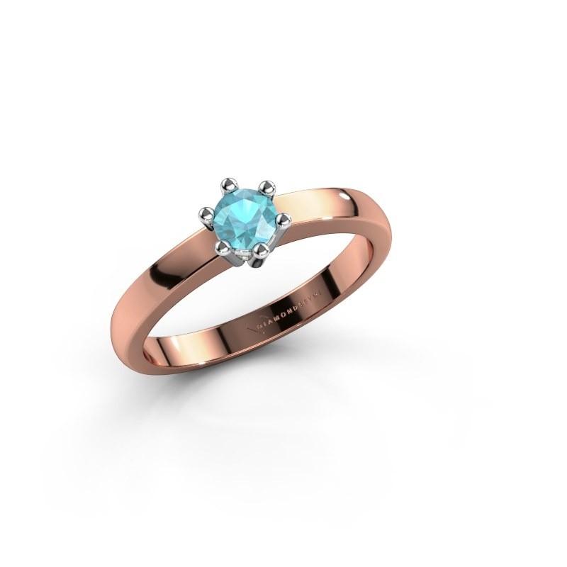 Verlovingsring Luna 1 585 rosé goud blauw topaas 3.7 mm