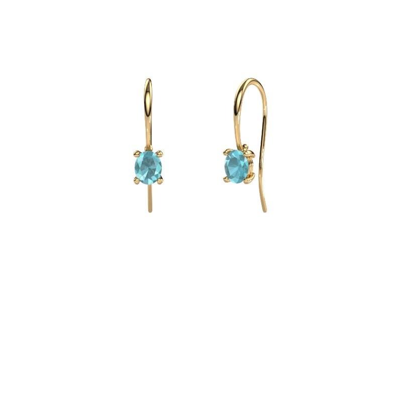 Ohrhänger Cleo 585 Gold Blau Topas 6x4 mm