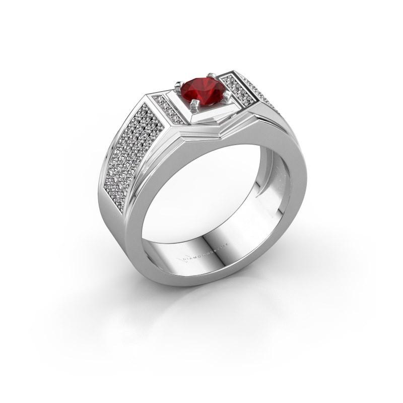 Men's ring Marcel 375 white gold ruby 5 mm