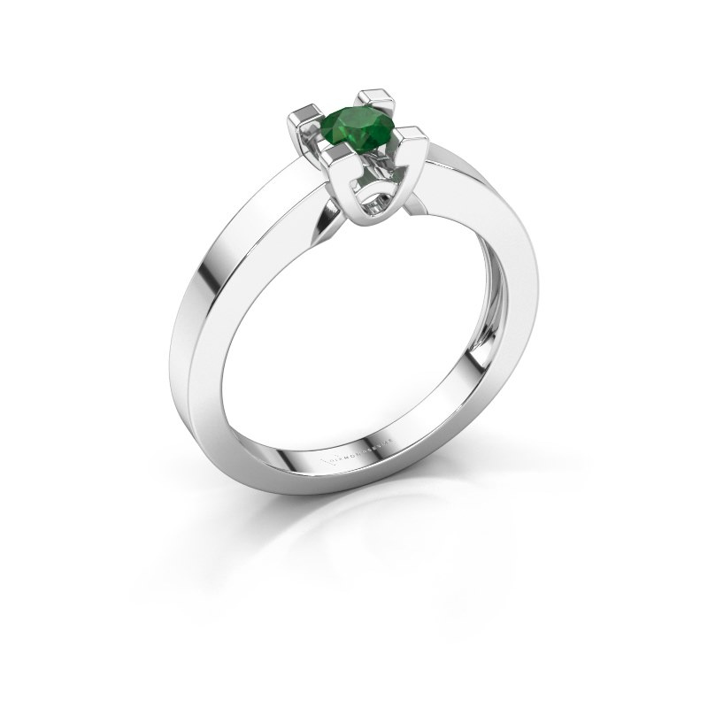 Verlovingsring Nina 1 585 witgoud smaragd 3.7 mm