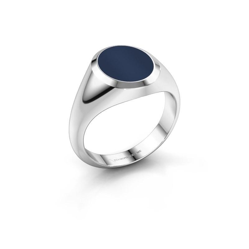 Zegelring Herman 2 950 platina donker blauw lagensteen 12x10 mm