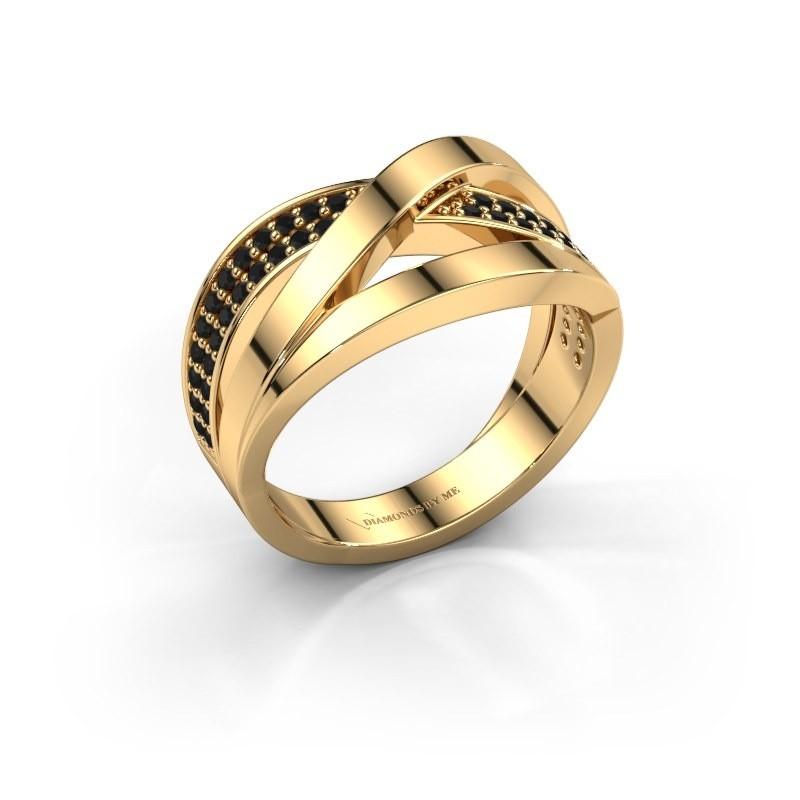 Bague Amira 375 or jaune diamant noir 0.414 crt