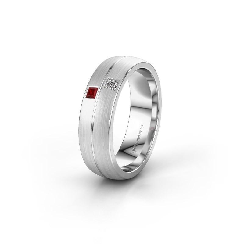 Wedding ring WH0250L26BM 950 platinum ruby ±0.24x0.08 in