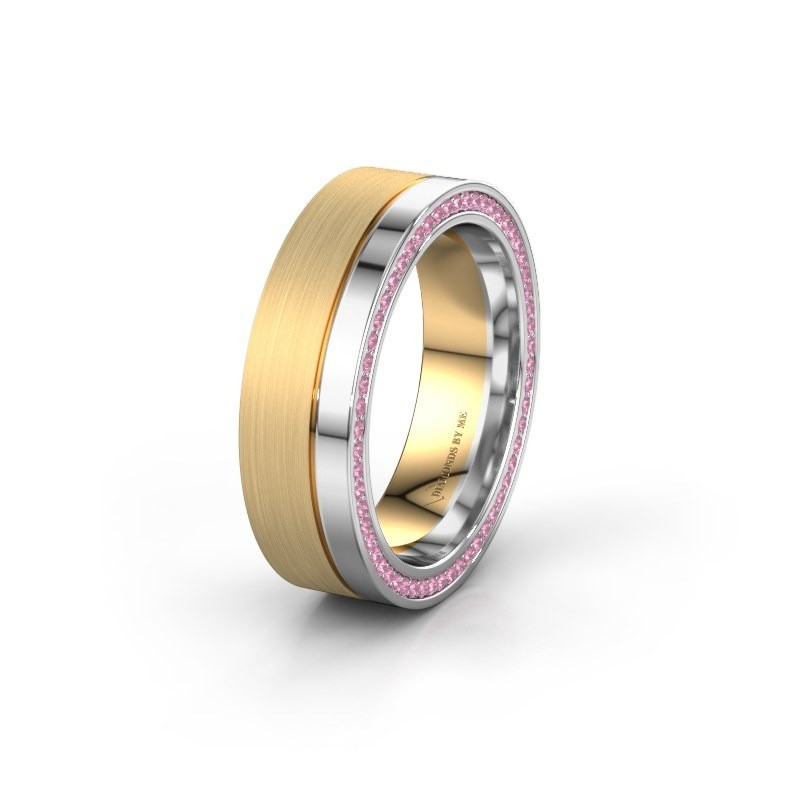 Wedding ring WH0313L16B 585 gold pink sapphire ±0.24x0.08 in