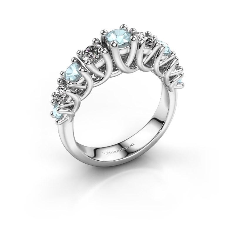 Engagement ring Fatima 925 silver aquamarine 3.7 mm