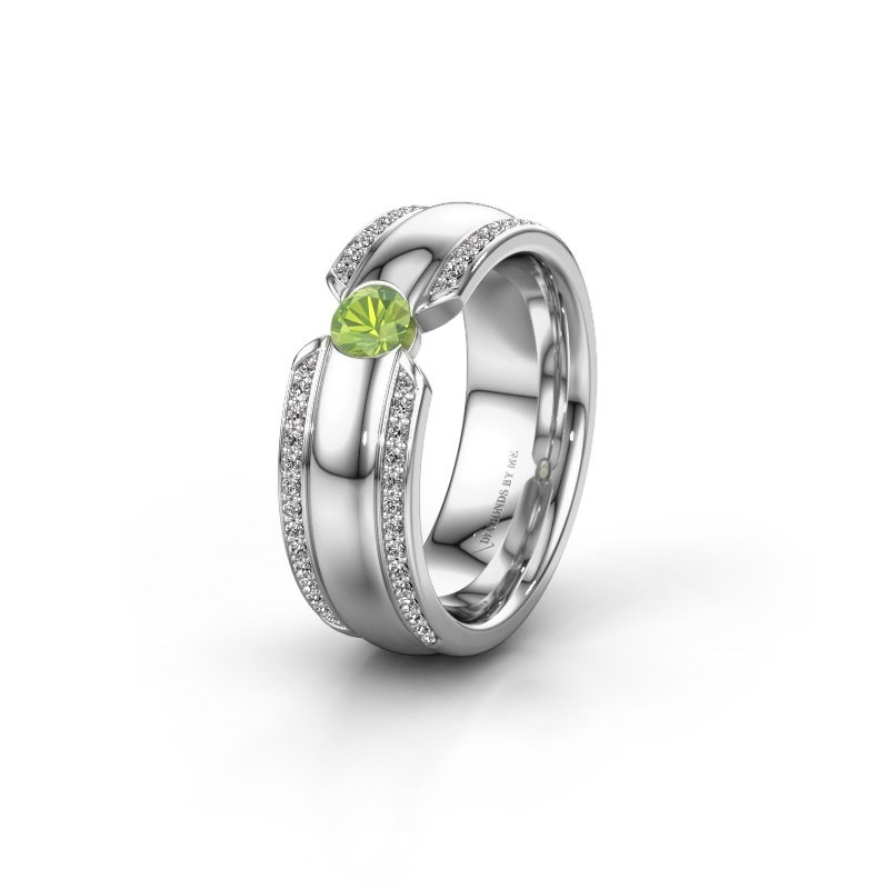 Wedding ring WHR0575L 585 white gold peridot ±7x2 mm